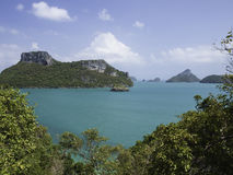 Panoramautsikt av den Angthong ön, tropiska Marine Park i Thail Fotografering för Bildbyråer
