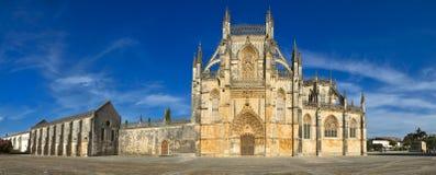 Panoramautsikt av den Batalha Santa Maria da Vitoria Dominican abbotskloster - Portugal Arkivfoto