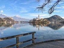 Panoramautsikt av den blödde sjön, Slovenien Arkivfoto