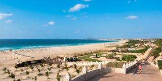 Panoramautsikt av den Chaves stranden Praia de Chaves i Boavista udde Arkivbilder