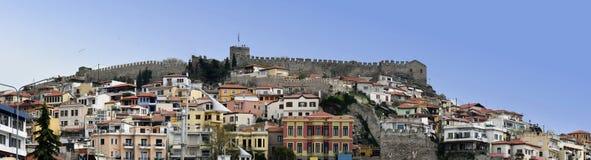 Panoramautsikt av den forntida staden av Kavala, Grekland Royaltyfria Bilder