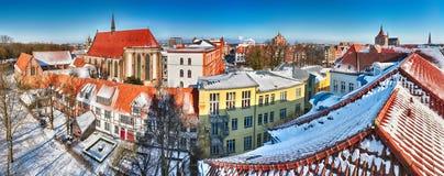 Panoramautsikt av den gamla mitten av Rostock Royaltyfri Bild