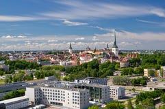 Panoramautsikt av den gamla staden av Tallinn Arkivfoto