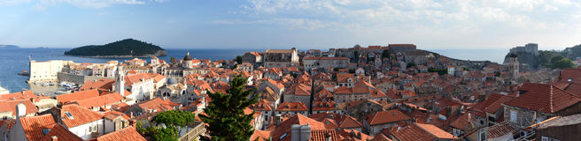 Panoramautsikt av den gamla staden dubrovnik croatia Arkivbilder