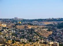 Panoramautsikt av den gamla staden av Jerusalem, Israel Juni 2014 arkivfoton