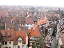 Panoramautsikt av den gamla staden av Nuremberg i vintertid Arkivbild