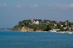 Panoramautsikt av den grekiska traditionella byn Fotografering för Bildbyråer