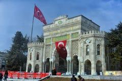 Panoramautsikt av den historiska porten för huvudsaklig ingång av Istanbul Arkivfoto