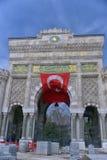 Panoramautsikt av den historiska porten för huvudsaklig ingång av Istanbul Royaltyfri Bild