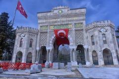 Panoramautsikt av den historiska porten för huvudsaklig ingång av Istanbul Arkivbilder