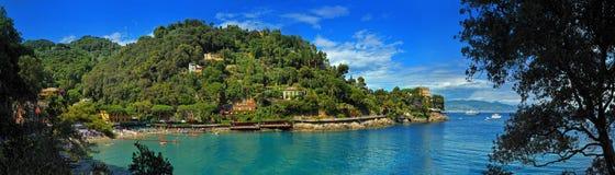 Panoramautsikt av den italienareRiviera golfen nära Santa Marherita Royaltyfria Foton