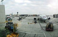 Panoramautsikt av den Jorge Chavez flygplatsen i Callao arkivbilder