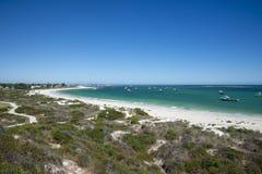 Panoramautsikt av den Lancelin stranden i västra Australien Arkivbilder