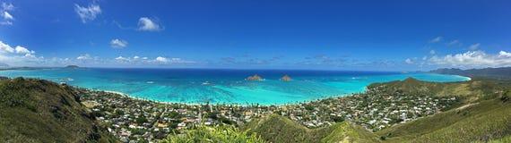 Panoramautsikt av den Lanikai stranden, Oahu, Hawaii royaltyfria foton