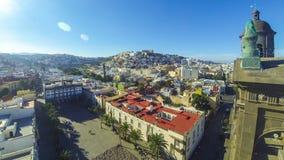 Panoramautsikt av den Las Palmas de Gran Canaria staden, kanariefågelöar, Spanien lager videofilmer
