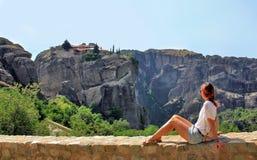 Panoramautsikt av den Meteora kloster, Grekland Arkivfoto