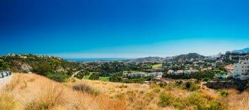 Panoramautsikt av den Mijas staden i Malaga, Andalusia Arkivbilder