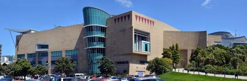 Panoramautsikt av den nyazeeländska Te Papa Tongarewa Museum Arkivfoto