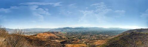 Panoramautsikt av den Oaxaca dalen från Monte Alban fotografering för bildbyråer
