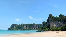 Panoramautsikt av den Railay stranden i Thailand Tropisk semester Co Arkivbilder