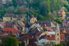 Panoramautsikt av den Sighisoara staden, Transylvania, Mures län, Rumänien Fotografering för Bildbyråer