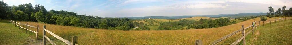 Panoramautsikt av den solbelysta landslantgårdängen Royaltyfri Fotografi