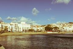 Panoramautsikt av den spanska staden av Cadaques, det berömda litet Fotografering för Bildbyråer