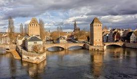 Panoramautsikt av den Strasbourg staden, Frankrike Royaltyfria Foton