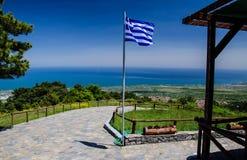 Panoramautsikt av den Thermaikos golfen av det Aegean havet, Grekland fotografering för bildbyråer