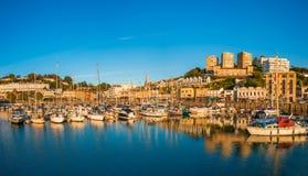 Panoramautsikt av den Torquay hamnen, södra Devon, UK Arkivfoto