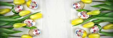 Panoramautsikt av easter garnering Decoupage design Fotografering för Bildbyråer