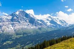Panoramautsikt av Eiger, Monch och Jungfrau Arkivbild