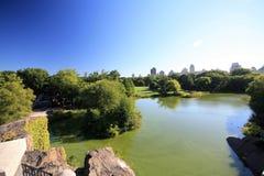 Panoramautsikt av en Central Park sjö i New York City Royaltyfri Bild