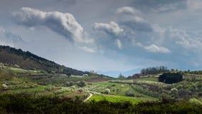 Panoramautsikt av en vårdag i det serbiska lantliga landskapet Arkivbild