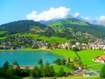 Panoramautsikt av Engelberg Arkivbild