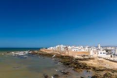 Panoramautsikt av Essaouira den gamla staden och havet, Marocko arkivfoto