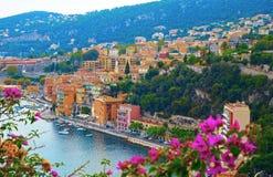Panoramautsikt av franska Riviera nära staden av Villefranche-sur-Mer, Menton, Monaco Monte Carlo, CÃ'te D ` Azur, franska Rivier Royaltyfri Fotografi