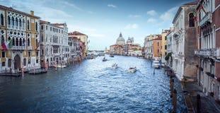 Panoramautsikt av Grand Canal i Venedig Royaltyfria Foton