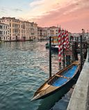 Panoramautsikt av Grand Canal, Venedig, Italien Arkivfoto