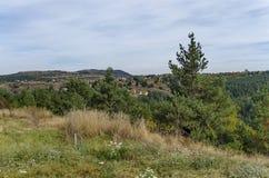 Panoramautsikt av hösten med byar Plana Royaltyfria Bilder