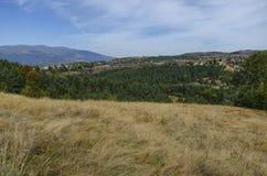 Panoramautsikt av hösten med byar Plana Fotografering för Bildbyråer