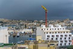 Panoramautsikt av hamnen, Malta Arkivbild