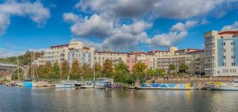 Panoramautsikt av Harbourside område av Bristol Docks arkivfoto