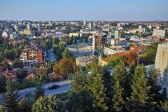 Panoramautsikt av Haskovo från monumentet av jungfruliga Mary, Bulgarien Arkivbilder