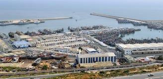 Panoramautsikt av havsporten i Agadir, Marocko Arkivfoto