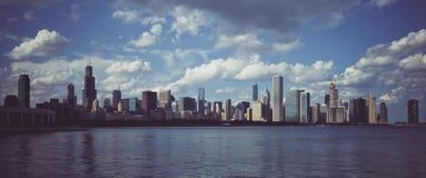Panoramautsikt av horisont i Chicago arkivbild