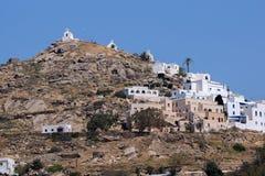 Panoramautsikt av Ios-ön, Cyclades arkivbilder