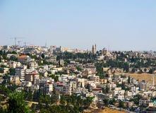 Panoramautsikt av Jerusalem och den Dormition abbotskloster på Mount Zion från Mountet of Olives israel jerusalem Juni 2014 arkivbild