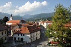 Panoramautsikt av Kamnik, Slovenien Fotografering för Bildbyråer