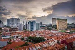 Panoramautsikt av kineskvarterområde - Singapore Royaltyfri Fotografi